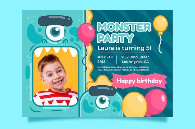 Modello di invito di compleanno di mostri con foto