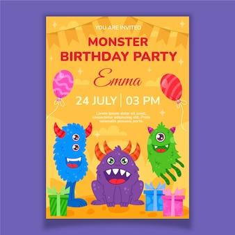 Modello di invito di compleanno di mostri