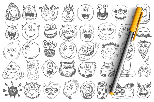 Monsters doodle set. collection of hand drawn spooky creatures alliens ugly cyclops beasts mascots