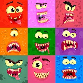 Monsters emotions. scary faces masks with mouth and eyes of aliens monsters