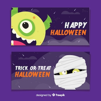 Monsters of flat halloween banners