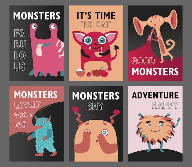 Set di volantini di mostri. simpatiche creature divertenti o bestie illustrazioni vettoriali con testo. mostra per il concetto di bambini per volantini, volantini, biglietti di auguri