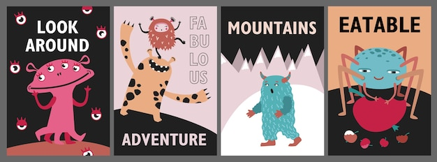 Monsters greeting cards set. cute funny creatures or beasts vector illustrations with text. show for kids concept for flyers, leaflets, posters