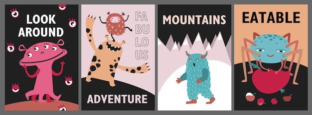 モンスターグリーティングカードセット。かわいい面白い生き物や獣は、テキストでイラストをベクトルします。チラシ、チラシ、ポスターの子供向けコンセプトを表示