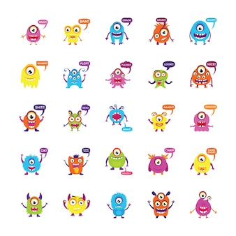 Monsters growling and screaming flat icons set