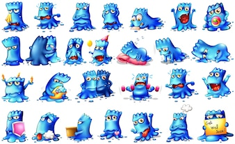 Monsters in different actions and expressing feeling