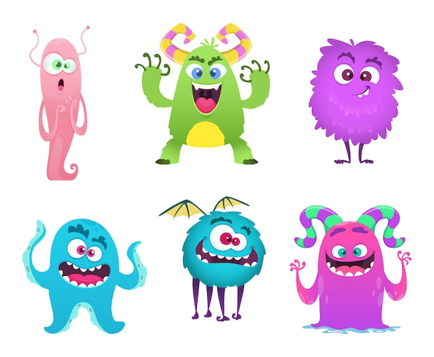 Monsters mascot. furry cute gremlin troll bizarre funny toys cartoon characters isolated