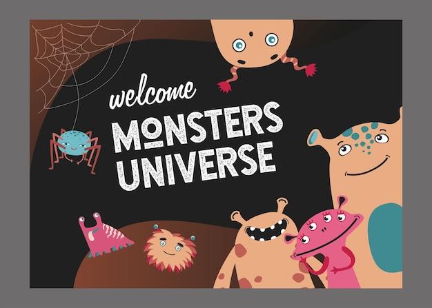 モンスターユニバースページカバーデザイン。かわいい面白い生き物や獣は、テキストでイラストをベクトルします。ポスターやウェブサイトの背景テンプレートの子供向けコンセプトを表示