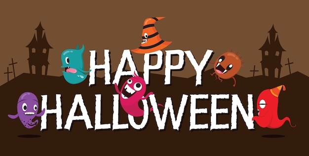 Monsters with halloween letters