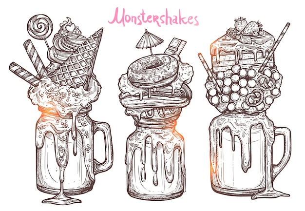 Monstershakes in graphic sketch style