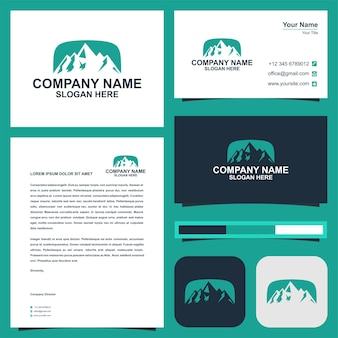 Montain logo and business card premium