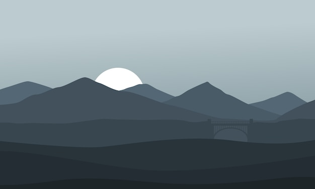 Montain nature landscape on gray background