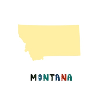 Montana map isolated. usa collection. map of montana - yellow silhouette. doodling style lettering on white