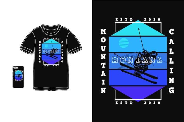 Монтана гора зовет дизайн для футболки силуэт ретро стиль