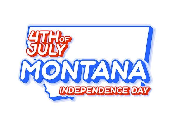 Штат монтана 4 июля в день независимости с картой и национальным цветом сша в 3d-форме сша