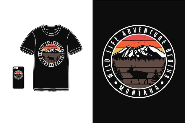 Montana wild life adventure begins design for t shirt silhouette retro style