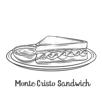 Monte cristo sandwich outline   icon. drawn triangular tall sandwich with grilled cheese and ham, fried in egg on a plate with jam.