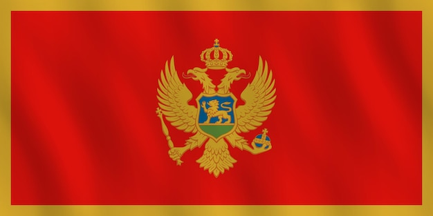 Montenegro flag with waving effect, official proportion.