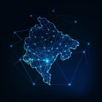星と線の抽象的なフレームワークとモンテネグロマップのアウトライン。通信、接続の概念。