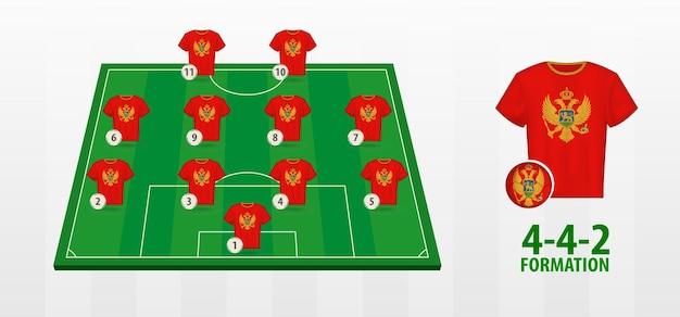 Montenegro national football team formation on football field.
