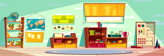 Montessori kindergarten playroom, elementary school class, kid room interior cartoon