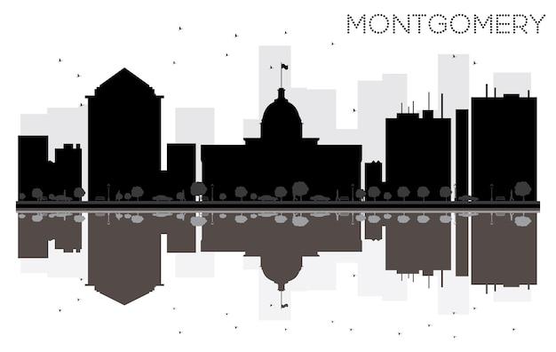 反射のあるモンゴメリーシティのスカイラインの黒と白のシルエット。ベクトルイラスト。観光プレゼンテーション、バナー、プラカードまたはwebサイトのシンプルなフラットコンセプト。ランドマークのある街並み。
