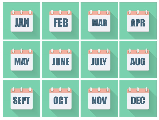 Month dates flat icon set with long shadow.  illustration