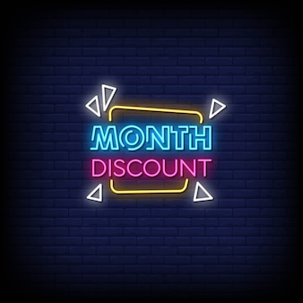 Month discount neon signs style text