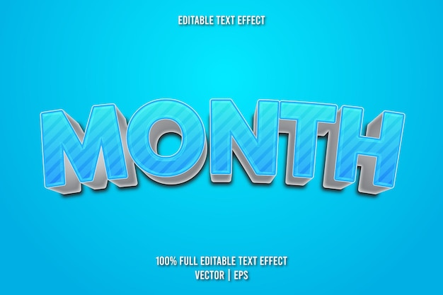 Month editable text effect cartoon style