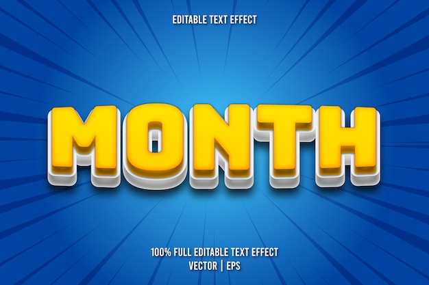 Month editable text effect comic style