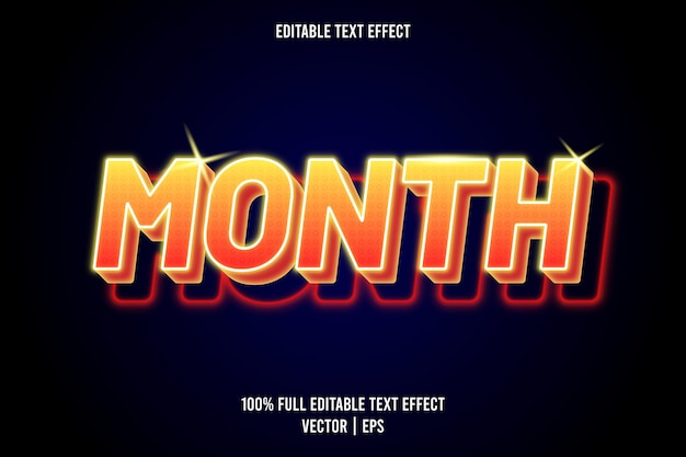 Month editable text effect neon style
