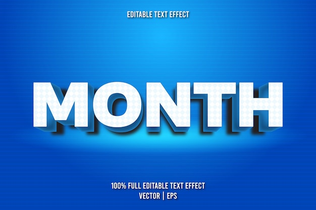 Month editable text effect retro style