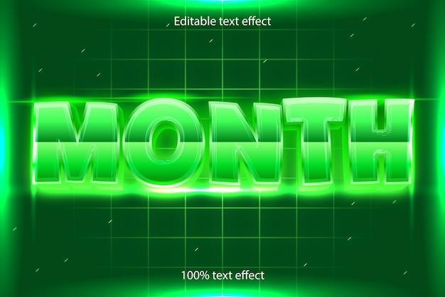 Редактируемый текстовый эффект месяца в стиле ретро в современном стиле