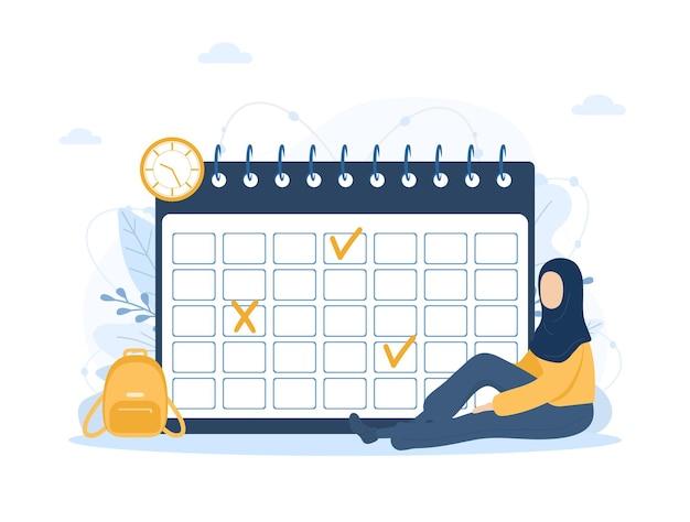 月の計画またはリストのコンセプトカレンダーを行う