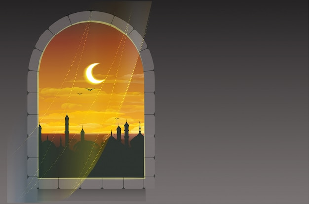 Month of ramadan. moon over minarets. template greeting card