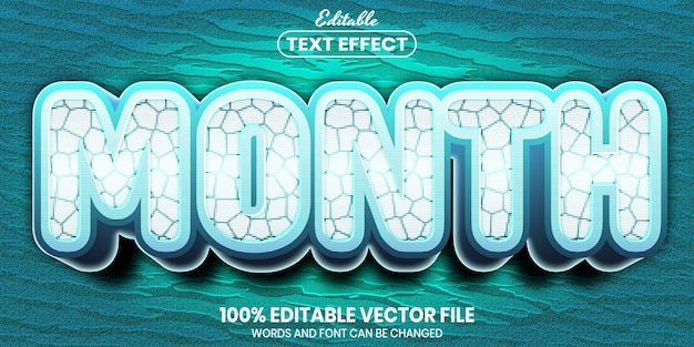 Month text, font style editable text effect