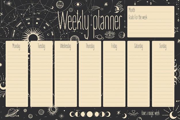 Ежемесячный и еженедельный планировщик. звезды, созвездия, солнце и луна. ретро винтаж.