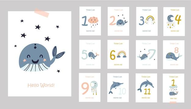 귀여운 고래 일러스트와 함께 월간 아기 카드