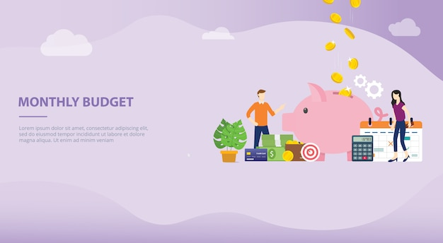 Monthly budget planning concept for website template or landing homepage