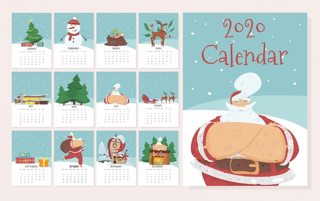 Monthly calendar 2020 in cute hand drawn style