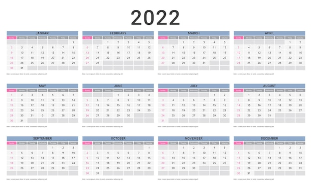 Monthly calendar template for 2022 year