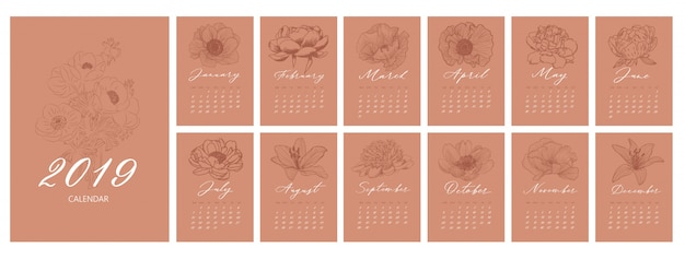Monthly calendar with flowers