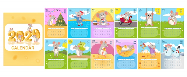 Monthly creative calendar 2020 with cute rats or mice. symbol of the year in the chinese calendar.