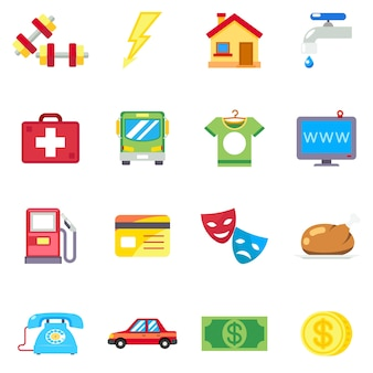 毎月の費用、フラットアイコンの費用。電話と医療、インターネットと食品、スポーツの健康、ベクトル図