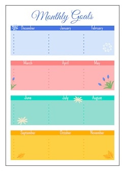 Monthly goals grid creative planner page design
