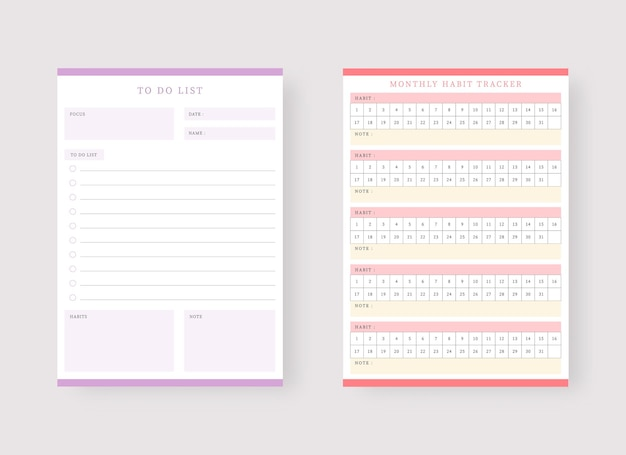 Monthly habit and to do list planner template set of planner and to do list