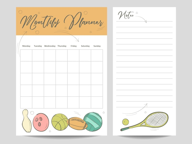 Monthly planner and page for notes template