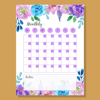Monthly planner purple watercolor flower