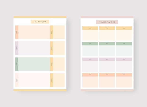 Monthly planner template set of planner and to do list