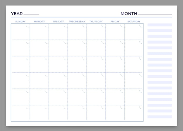 월간 플래너 템플릿입니다. 벡터 월 및 주 계획, 매일 달력, 시간 주간 편지지 인쇄 작업 그림